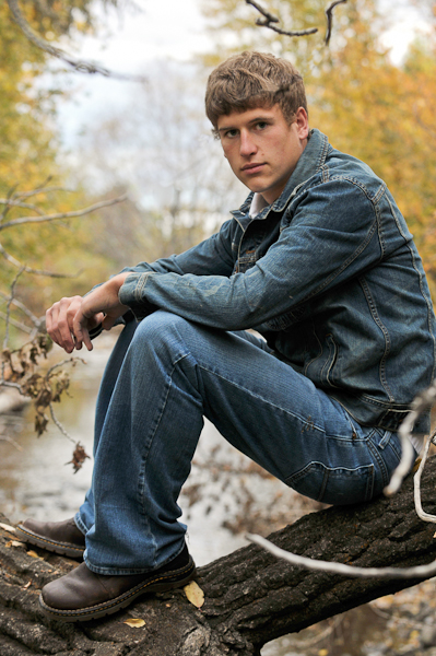 senior portrait, denim, trees, stream, guy, boy, tough guy