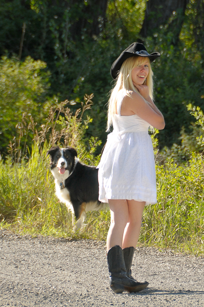 senior portrait, pet, dog, cowboy hat, boots, girl, white dress